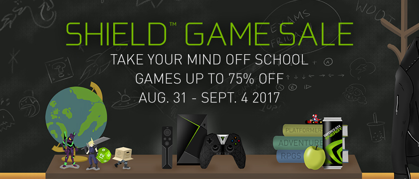 With the SHIELD Back to School game sale, take your mind off of school with games up to 75% off from August 31 through September 4th.