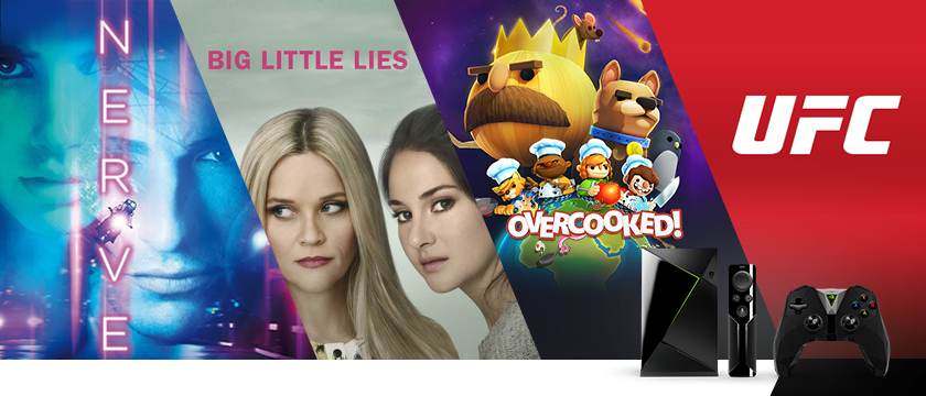 "This week, we're all about the game Overcooked on GeForce NOW, the UFC.TV & UFC FIGHT PASS app, just in time for UFC 210 this weekend, the TV Show, ""Big Little Lies"" on HBO, and ""Nerve"" streaming on Epix."