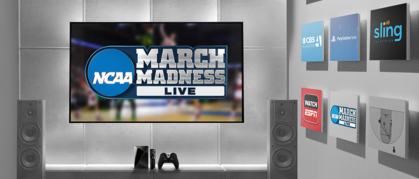 Watch March Madness games on SHIELD with NCAA March Madness Live app, CBS All Access, CBS Sports, and SlingTV