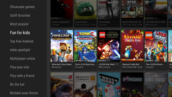Use NVIDIA Games categories to quickly find new games to play - such as family-friendly titles.