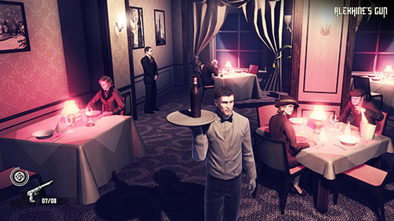 Alekhine's Gun - Spy disguises as a waiter