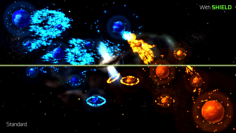 Auralux: Constellations - Blue planets attack orange planets