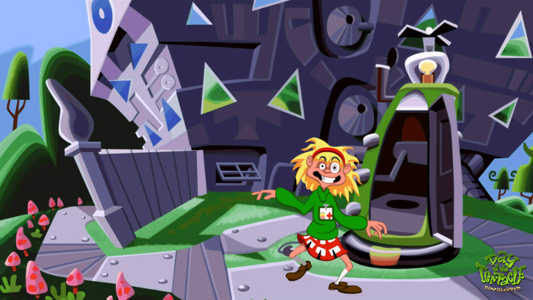 Day of the Tentacle Remastered - Laverne outside Maniac Mansion