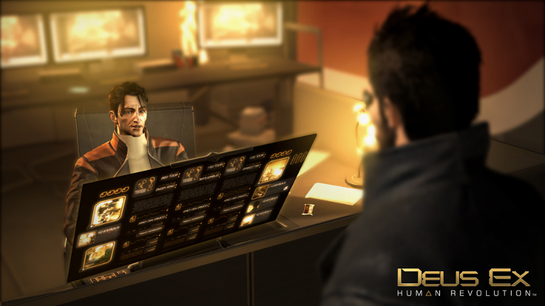 In Deus Ex: Human Revolution it's important to choose your words carefully: This guy and his fancy computer might just help you out if you ask nicely.