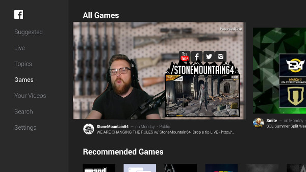 Watch live video game content with the Facebook for Android TV app on SHIELD