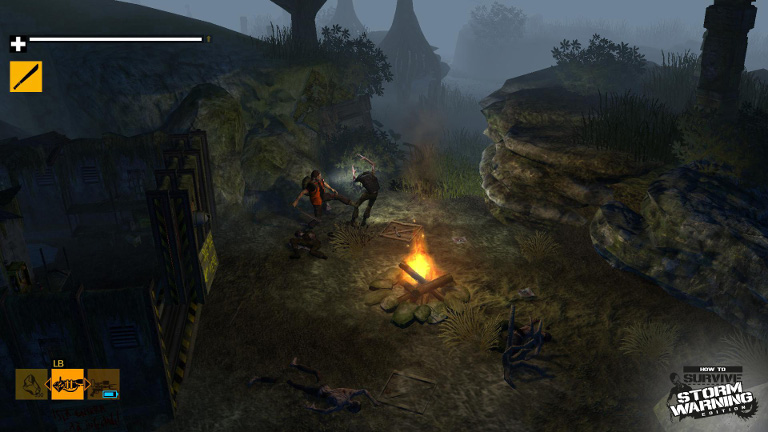 Fighting a zombie in the jungle at night