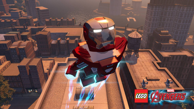 Iron Man flies above the city.