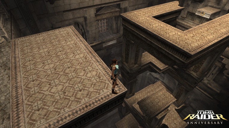 Lara Croft has to navigate a puzzle