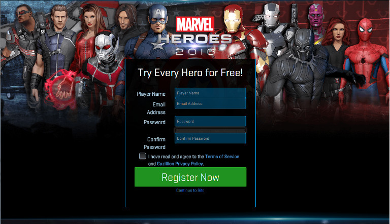 Before you can start playing Marvel Heroes on SHIELD you'll need to set up a free game account at www.marvelheroes.com.