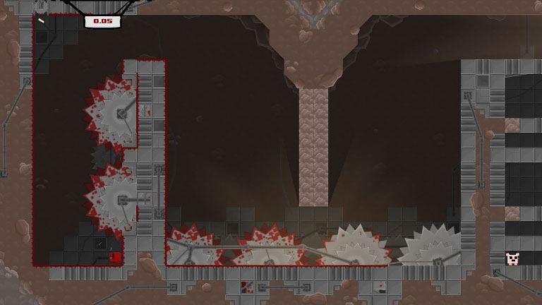 Super Meat Boy - Meat Boy avoids circular saw attack