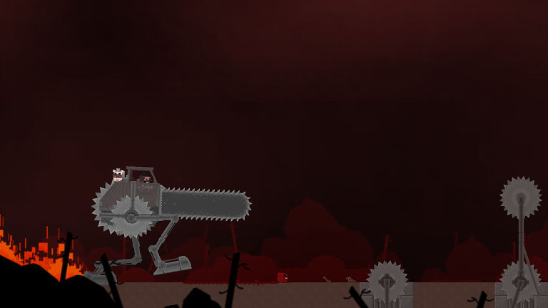 Super Meat Boy - Meat Boy runs away from giant chainsaw machine