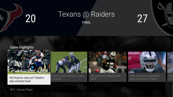 NFL for Android TV app