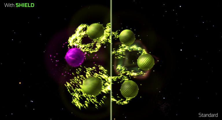 Auralux: Constellations - Purple planet batter five green planets