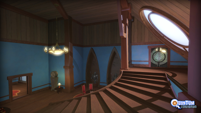 Quantum Conundrum - Room with big stairs and round window