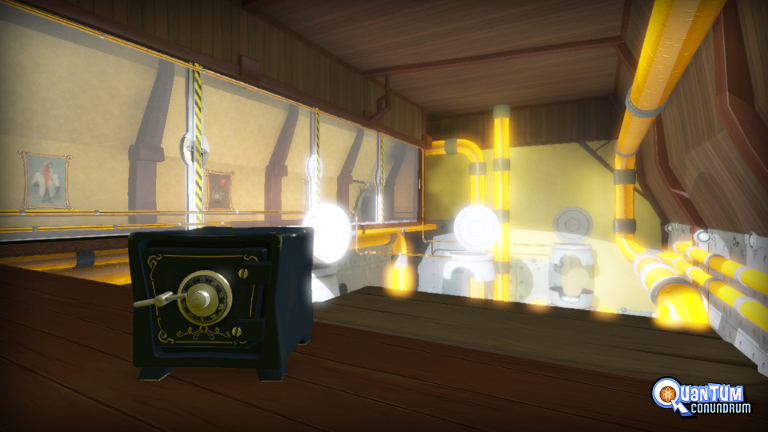 Quantum Conundrum - Room with a safe and yellow pipes