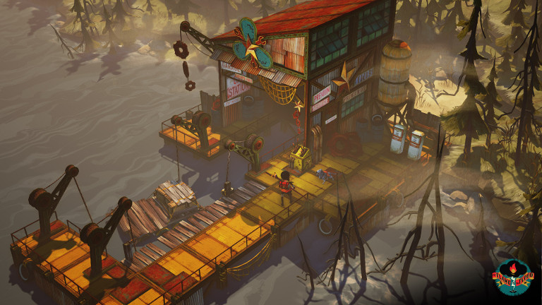 The Flame in the Flood - Scout upgrades raft at marina