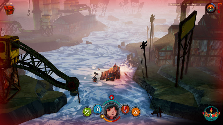 The Flame in the Flood - Scout washed away in river.