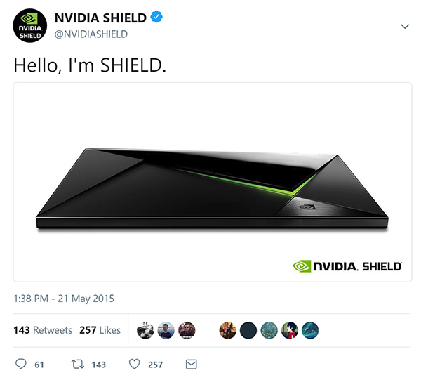 Our first SHIELD tweet