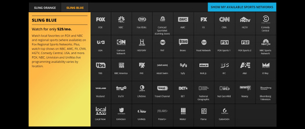 Get the Sling Blue package with the Sling TV app