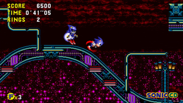 Sonic CD - Sonic the Hedgehog runs downslope