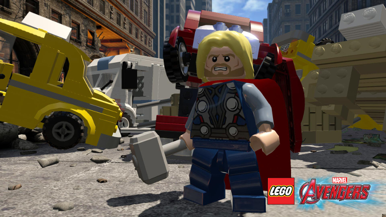 Thor fights with his hammer.