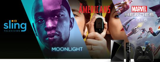 """This week, we're excited about the game, Marvel Heroes 2016 on GeForce NOW, Sling TV which now boasts more live, local sports than ever, the Academy Award winning """"Moonlight"""" streaming on Amazon Video, Google Play Movies & TV, and Vudu, and """"The Americans"""" on FXNOW."""